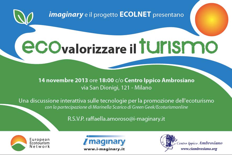 locandina - Imaginary e il progetto ECOLNET presentano l'incontro 'Ecovalorizzare il Turismo'