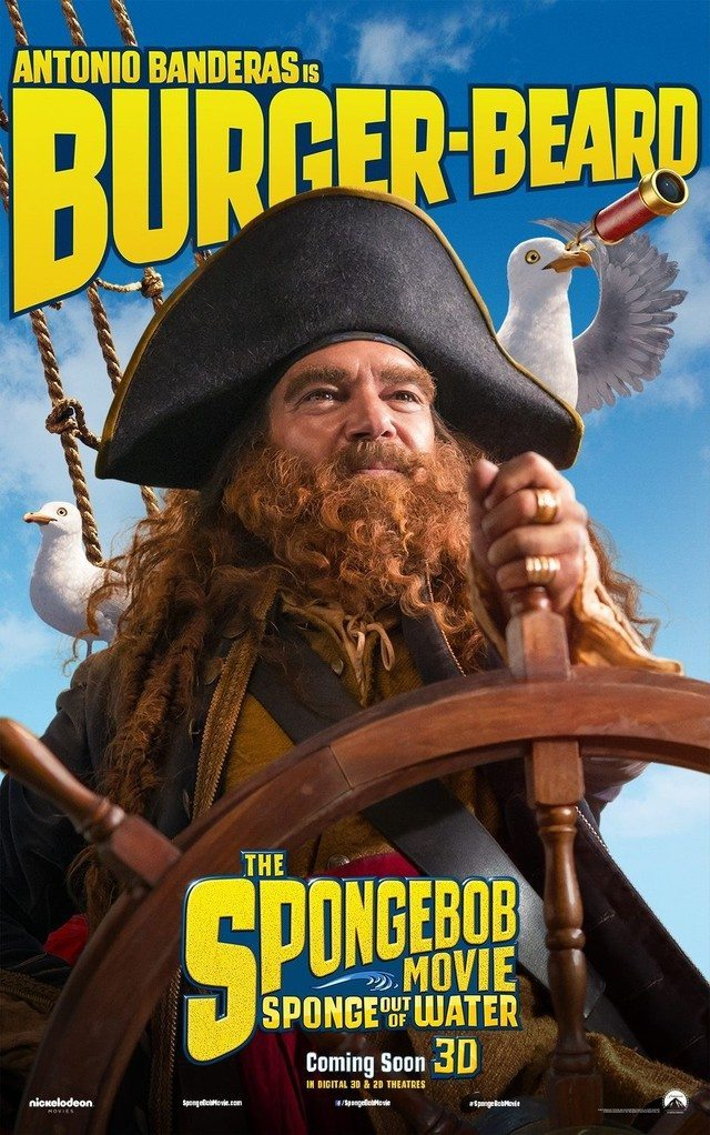 Spongebon Fuori DallAcqua Antonio Banderas Teaser Character Poster USA 01 mid - Spongebob – Fuori dall'acqua: un nuovo poster con il pirata Antonio Banderas