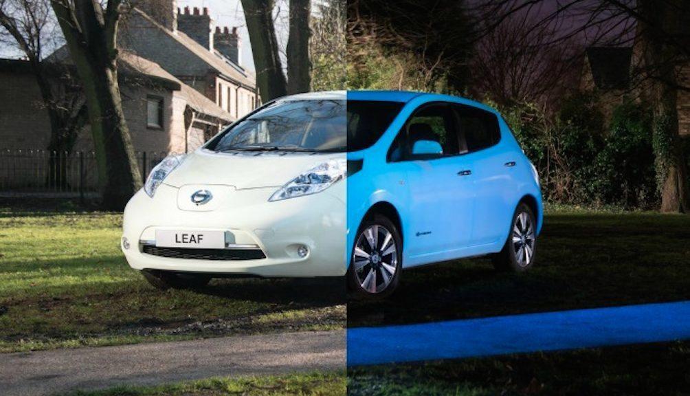Schermata 2015 02 12 alle 10.53.59 - Auto elettriche con vernice fosforescente: arriva Nissan Leaf