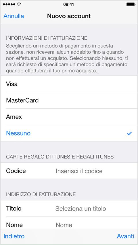 ID Apple senza carta di credito 1