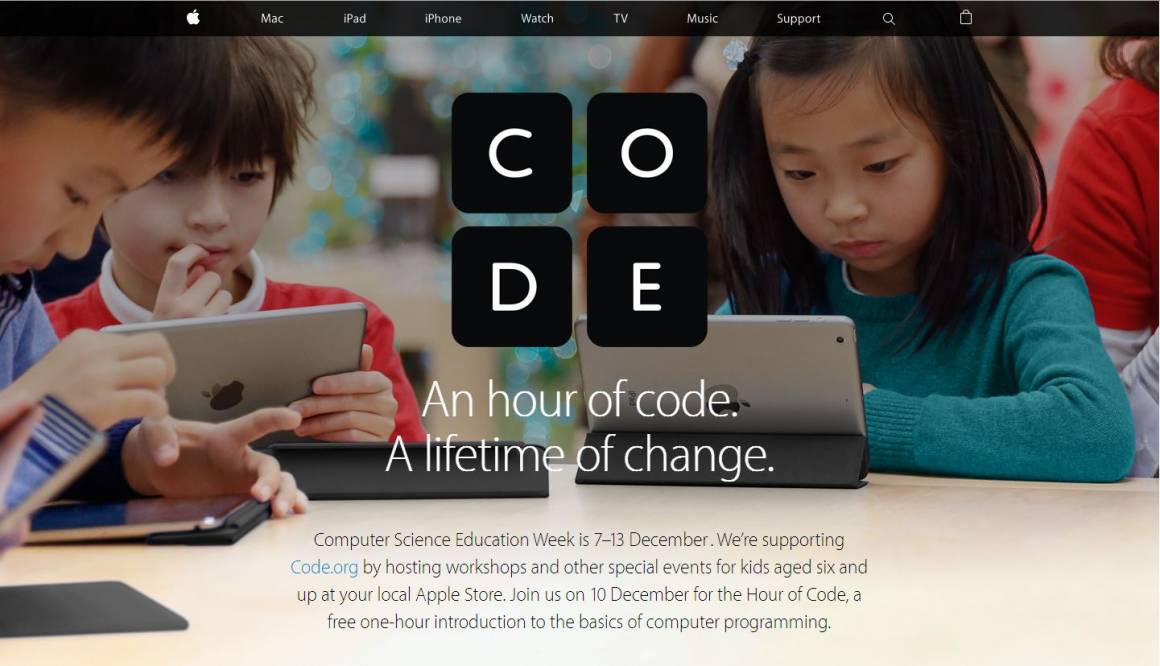 hour of code 1160x666 - Hour of Code, Apple Store per le famiglie