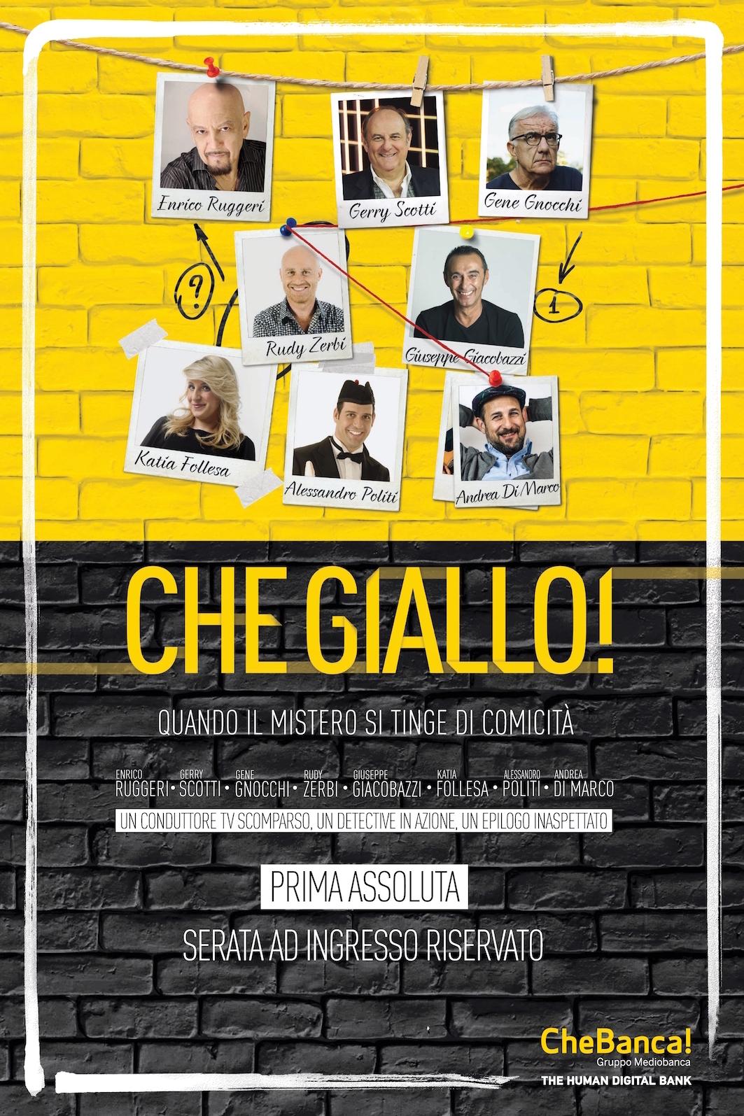 Locandina CheGiallo - #Chegiallo arriva lo spettacolo teatrale di Chebanca