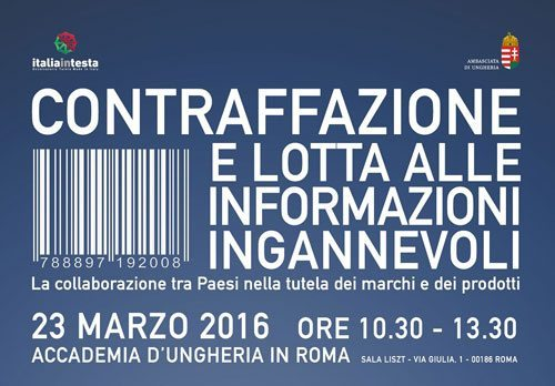 """convegno roma 23marzo - Convegno """"Contraffazione e lotta alle informazioni ingannevoli. La collaborazione fra i Paesi nella tutela dei marchi e dei prodotti"""""""