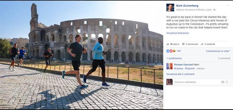 Mark Zuckerberg corre a Roma prima dellincontro italiano - Mark Zuckerberg corre a Roma prima dell'incontro italiano