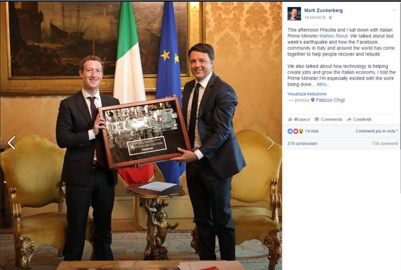 Mark Zuckerberg incontra Renzi  - Mark Zuckerberg incontra Renzi e dona 500.000 Dollari alla Crocerossa per il terremoto