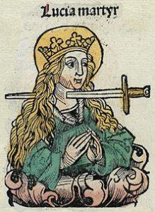 lucia Nuremberg chronicles f 125r 2 219x300 - SantaLucia e il suo quadrato magico del 13 dicembre