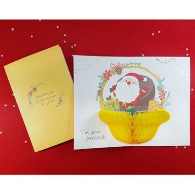 handmade honeycomb pop up cartolina di natale santa basket 1 pezzo - Fare gli Auguri di Capodanno Buon Anno su Facebook con simpatia ed originalità senza spammare gli amici