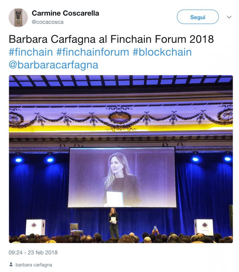 Finchain Forum 2018 con Barbara Carfagna 1 - Finchain Forum 2018 con Barbara Carfagna: oltre 1.000 presenze in sala ed oltre 500 connessi in live streaming