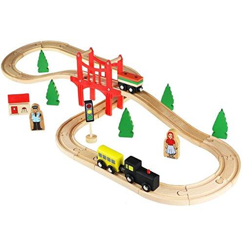 acooltoy pista trenino in legno giocattolo treno con binario a 8 in 37 pezzi - Regalo intelligente per la festa del papà da Dlink