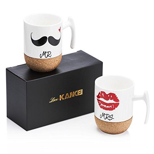 love kankei mr and mrs tazze di ceramica con base in sughero regali di - Idee per San Valentino su iltuocubo.com tutte le facce del regalo perfetto