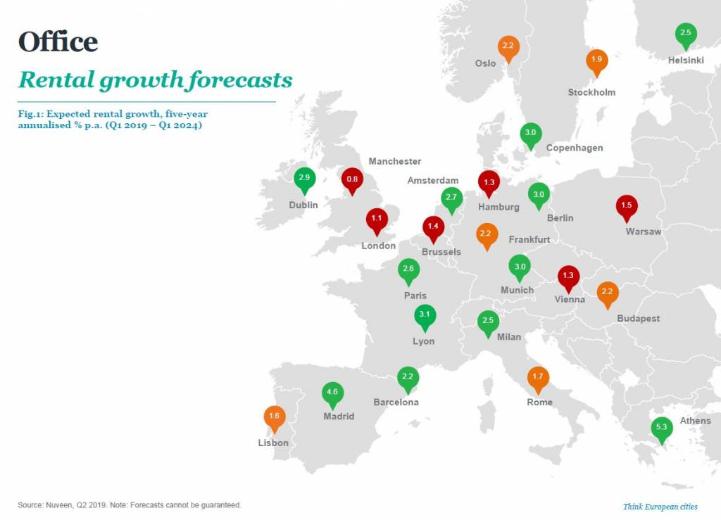 nuv mappa 1024x739 - Lo sviluppo del real estate europeo secondo Nuveen Real Estate