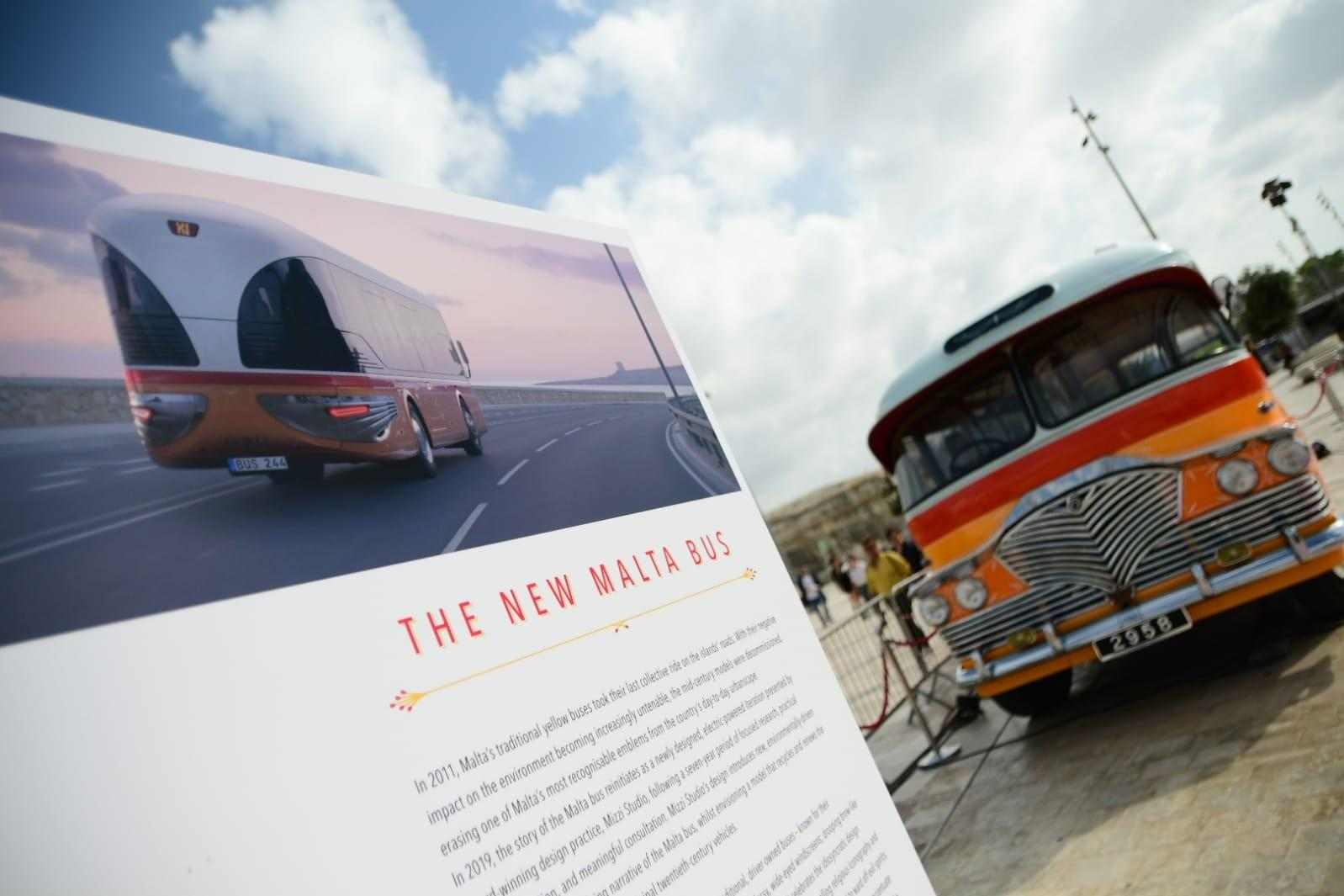 One of the old traditional Maltese buses beside a picture showing what the electric version would look like. Photo: Jonathan Borg