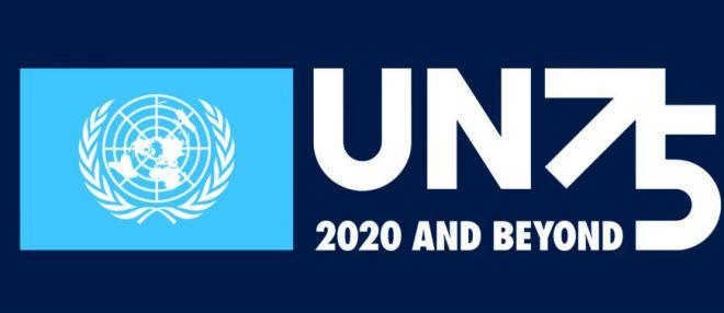 UN75 logo white on dark blue - Lo Statuto dell'Organizzazione delle Nazioni Unite ha compiuto 75 anni